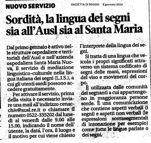 Mediazione LIS e LIST ASL Reggio Emilia