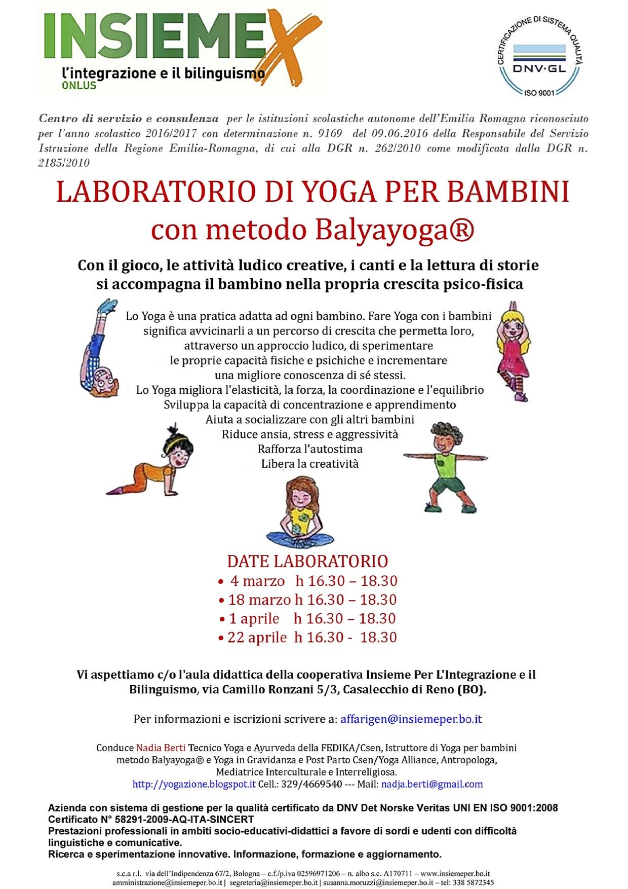 Laboratorio di Yoga per bambini con metodo Balyayoga